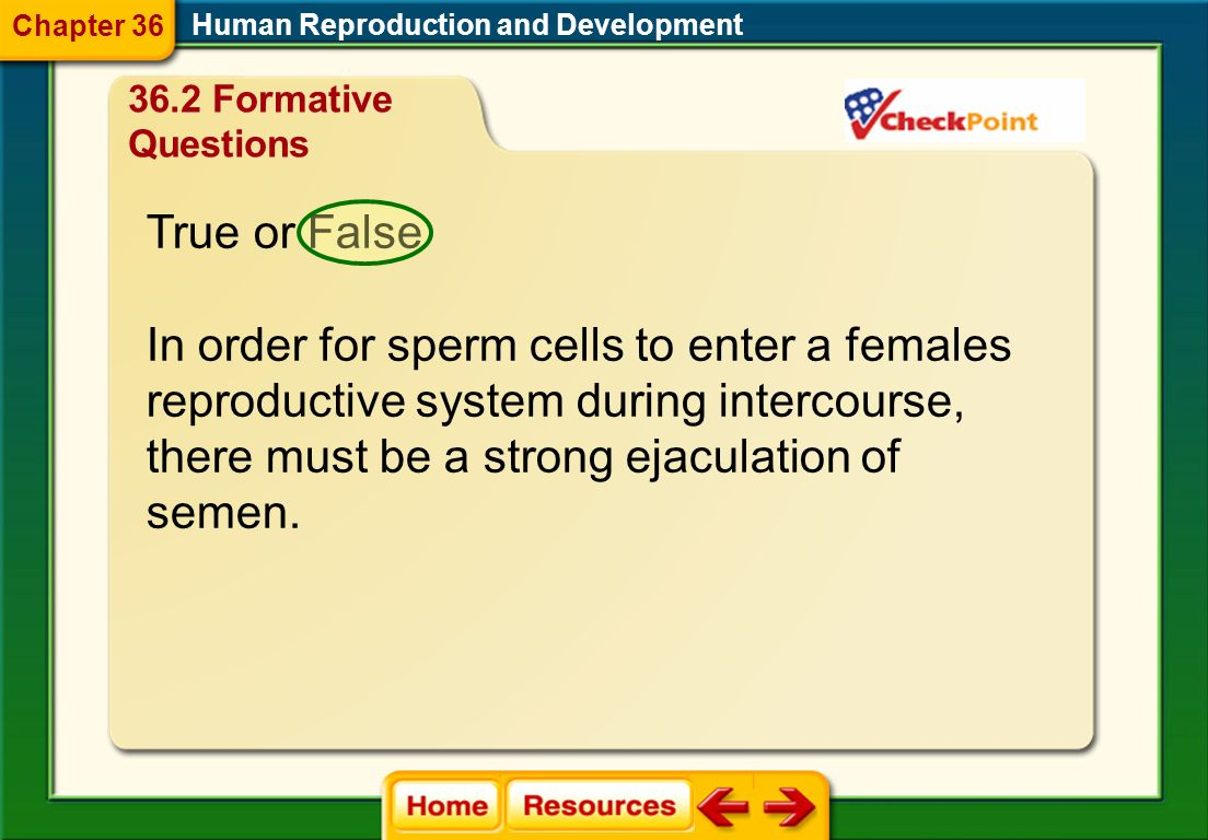 In order for sperm cells to enter a females