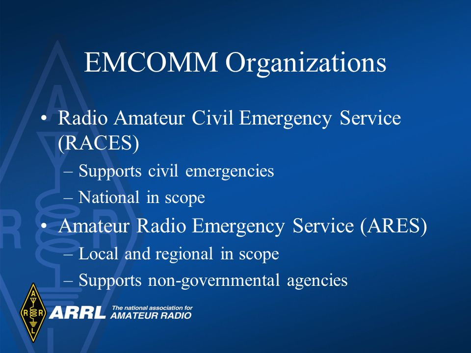 EMCOMM Organizations Radio Amateur Civil Emergency Service (RACES)