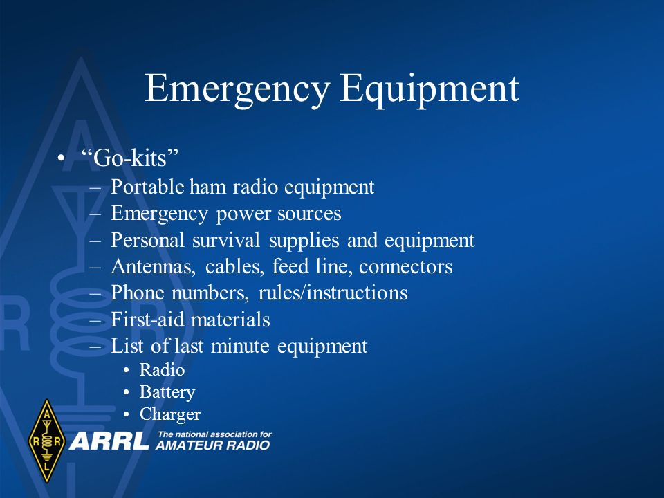 Emergency Equipment Go-kits Portable ham radio equipment