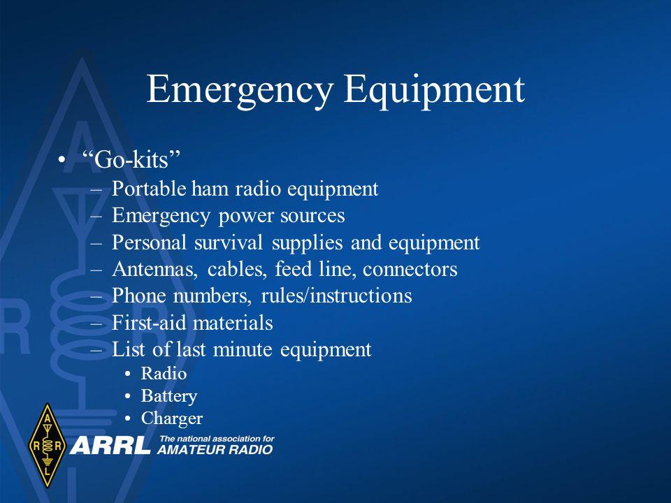 Emergency Equipment Go-kits Portable ham radio equipment