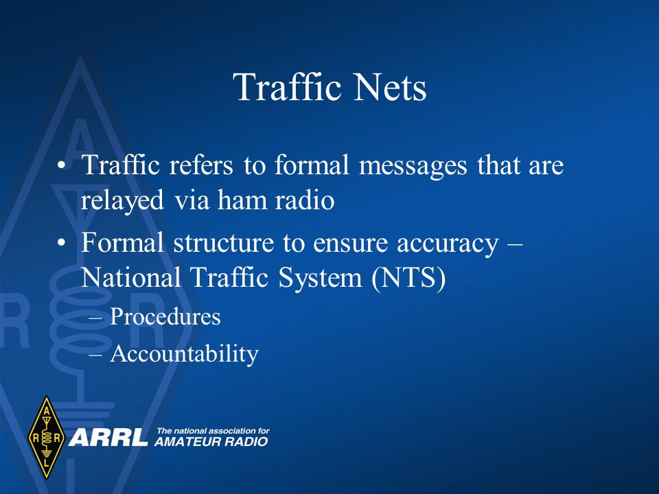 Traffic Nets Traffic refers to formal messages that are relayed via ham radio. Formal structure to ensure accuracy – National Traffic System (NTS)