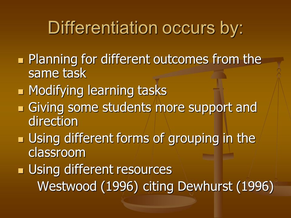 Differentiation occurs by:
