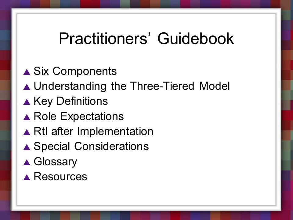 Practitioners' Guidebook
