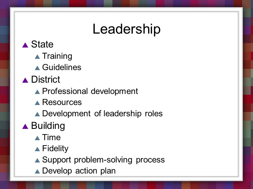 Leadership State District Building Training Guidelines