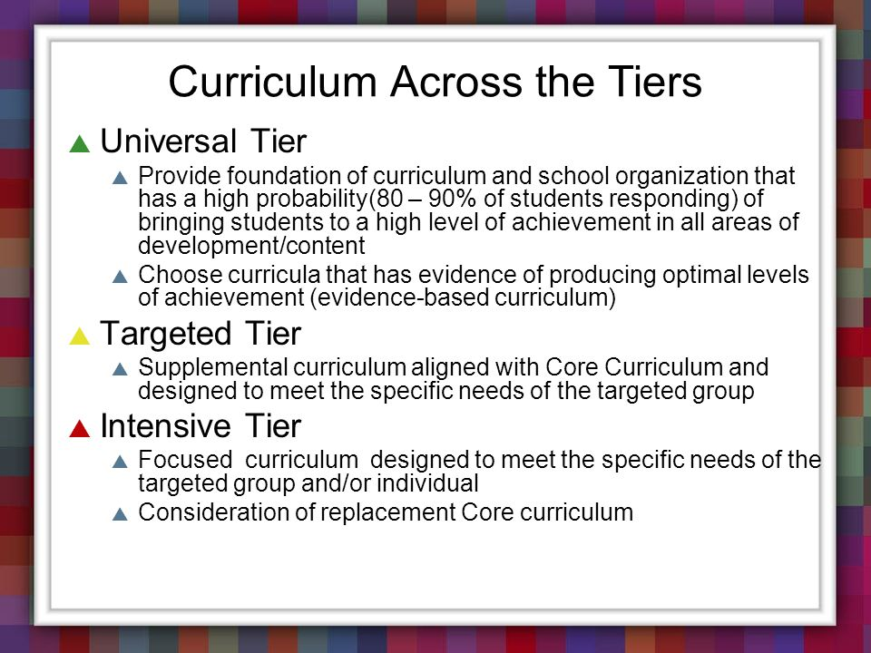 Curriculum Across the Tiers