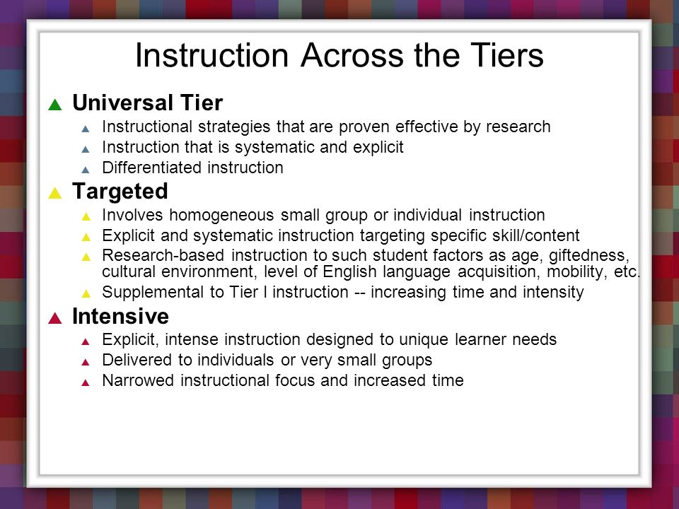 Instruction Across the Tiers