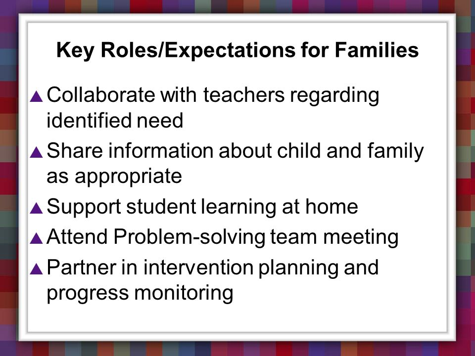 Key Roles/Expectations for Families