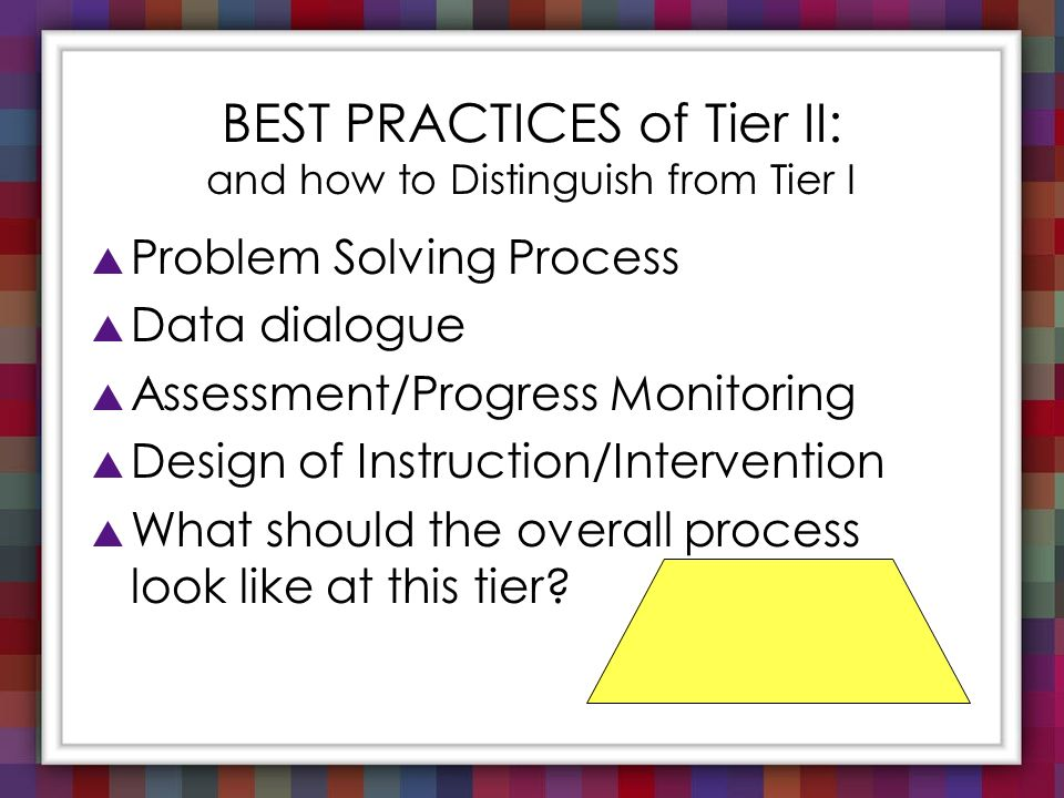 BEST PRACTICES of Tier II: and how to Distinguish from Tier I