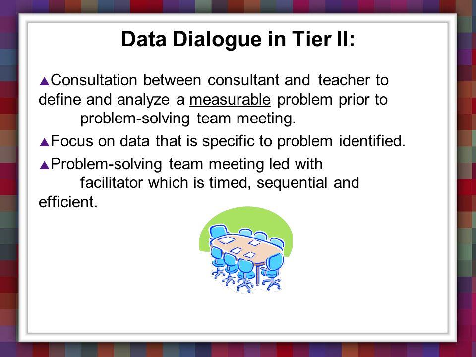 Data Dialogue in Tier II: