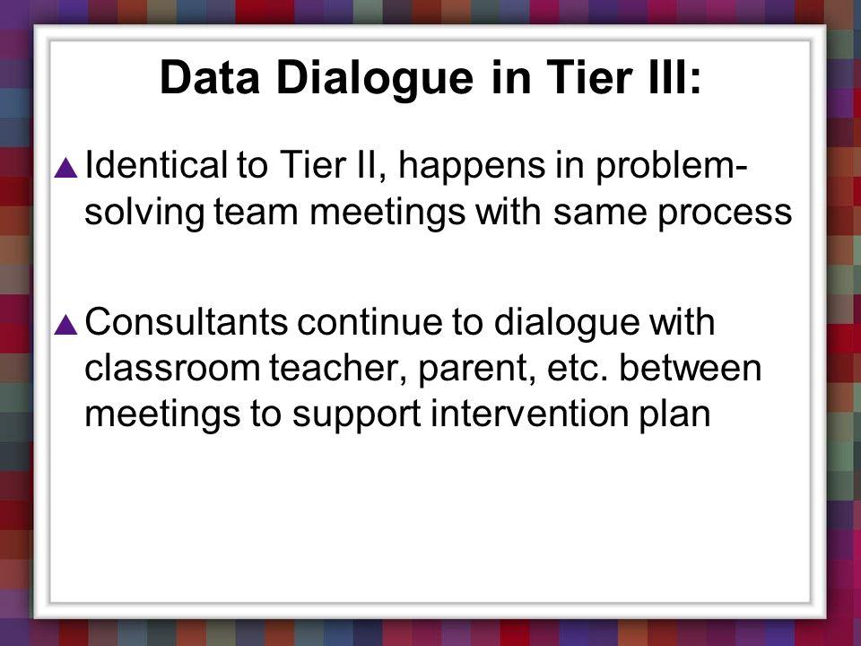 Data Dialogue in Tier III: