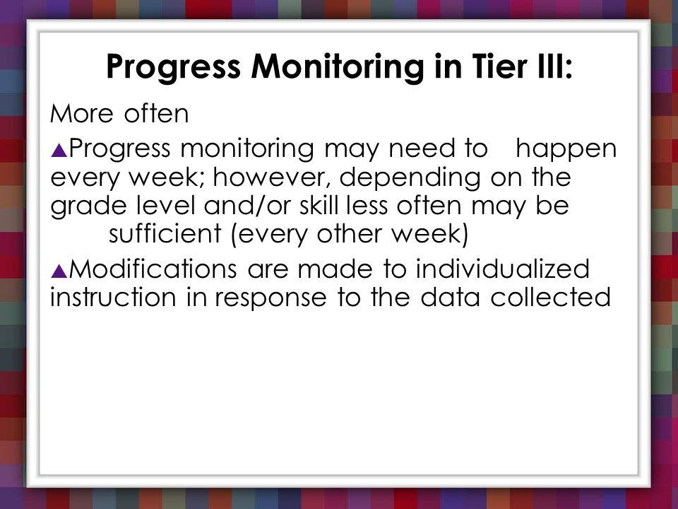 Progress Monitoring in Tier III: