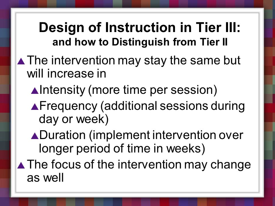 Design of Instruction in Tier III: and how to Distinguish from Tier II