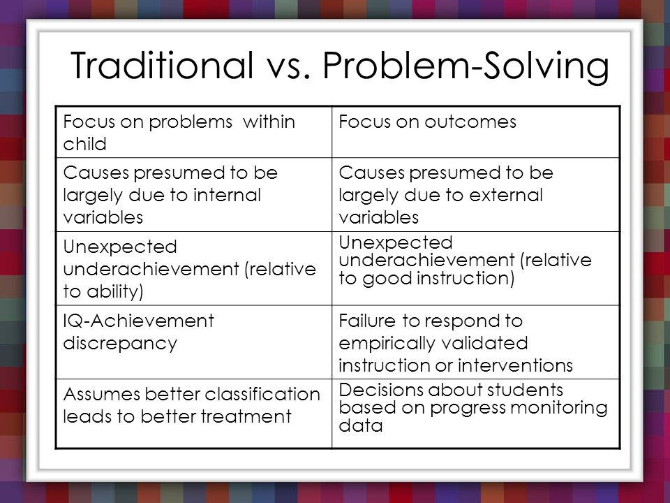 Traditional Vs. Problem Solving