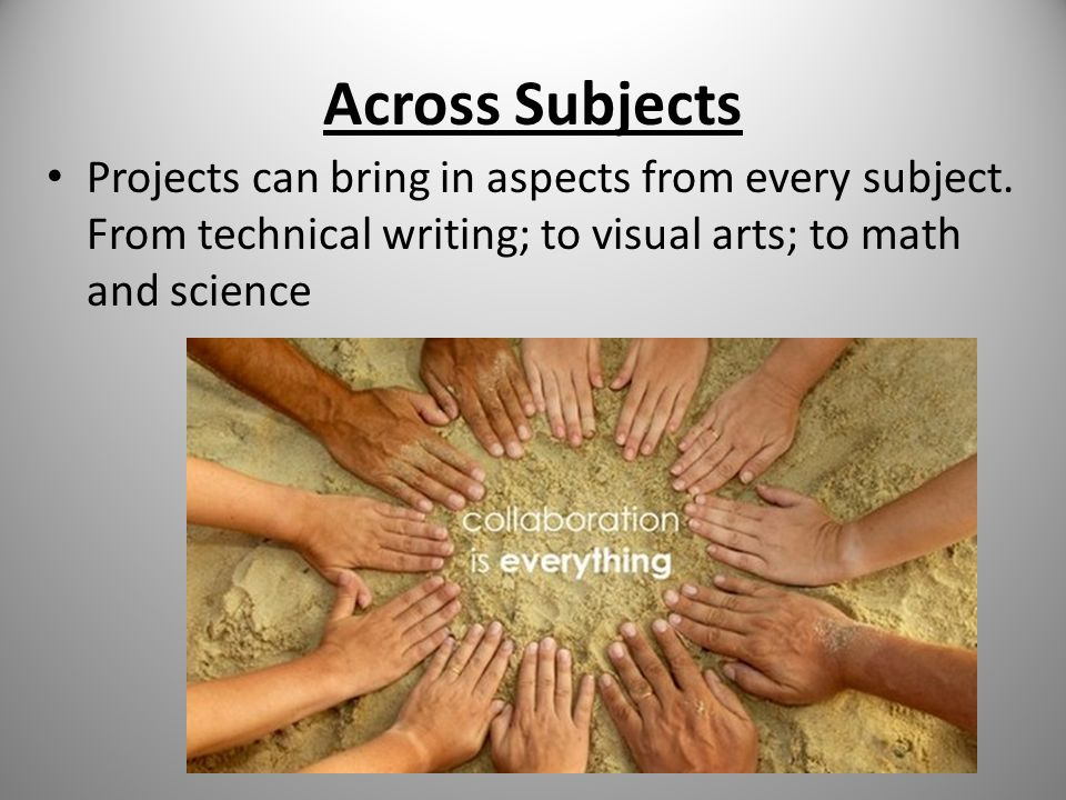 Across Subjects Projects can bring in aspects from every subject.