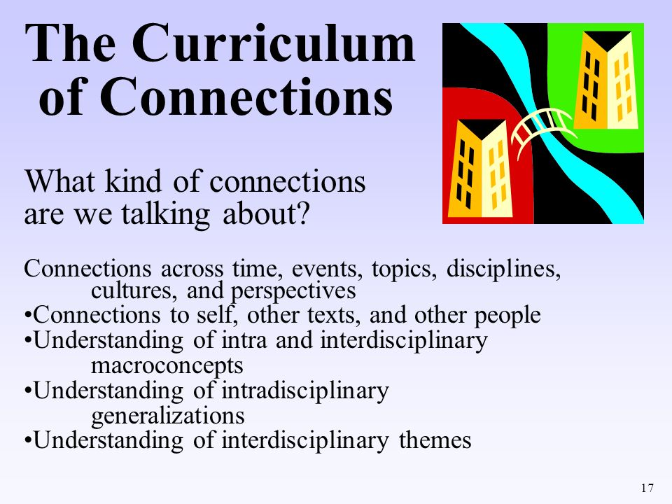 The Curriculum of Connections What kind of connections