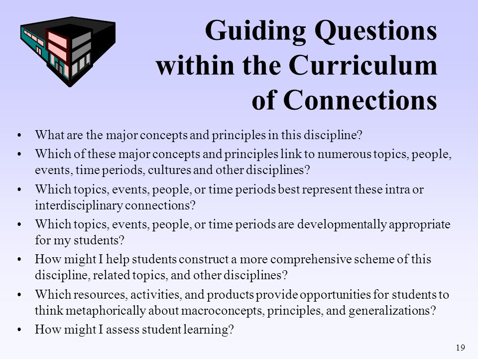 Guiding Questions within the Curriculum of Connections