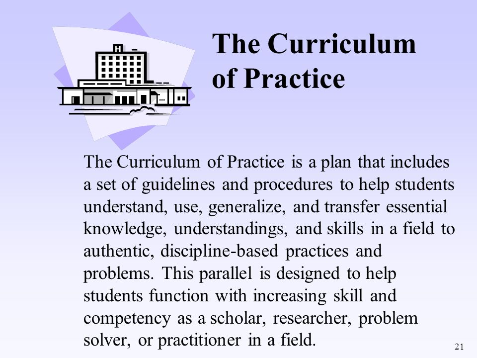 The Curriculum of Practice