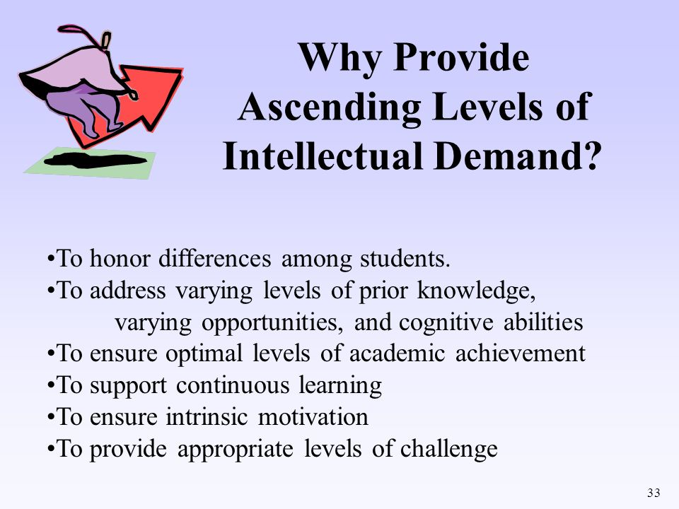 Why Provide Ascending Levels of Intellectual Demand
