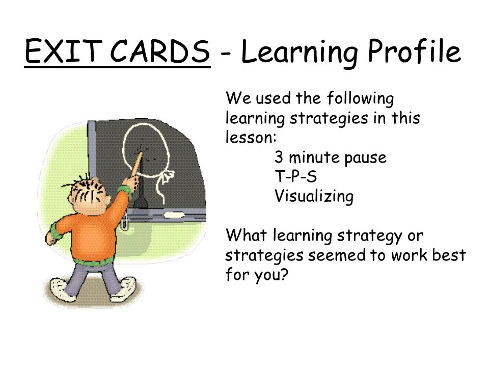 EXIT CARDS - Learning Profile