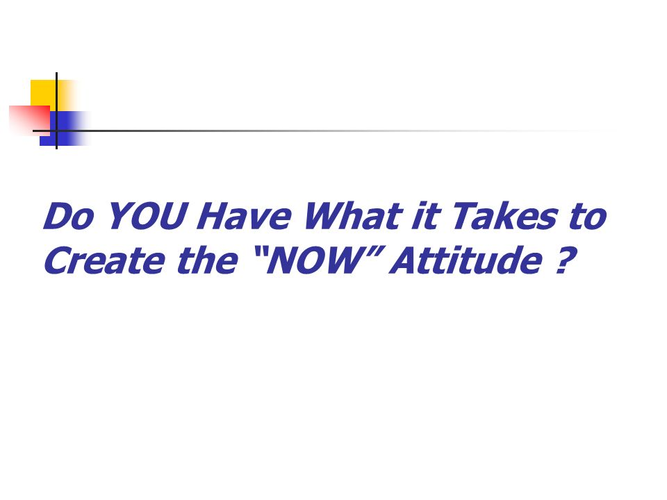 Do YOU Have What it Takes to Create the NOW Attitude