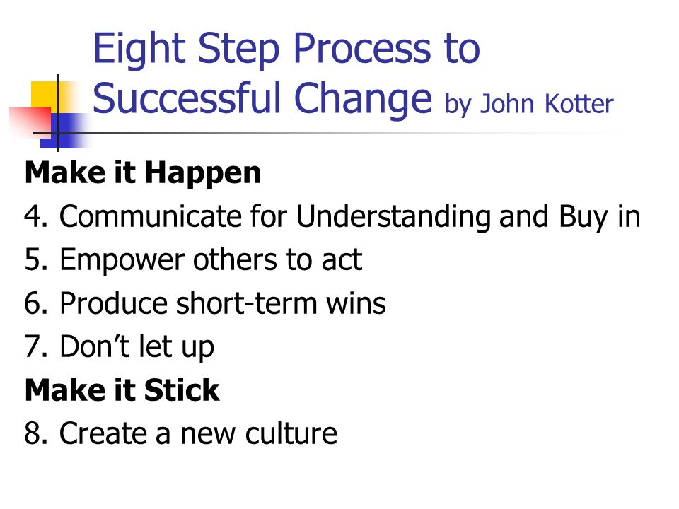 Eight Step Process to Successful Change by John Kotter