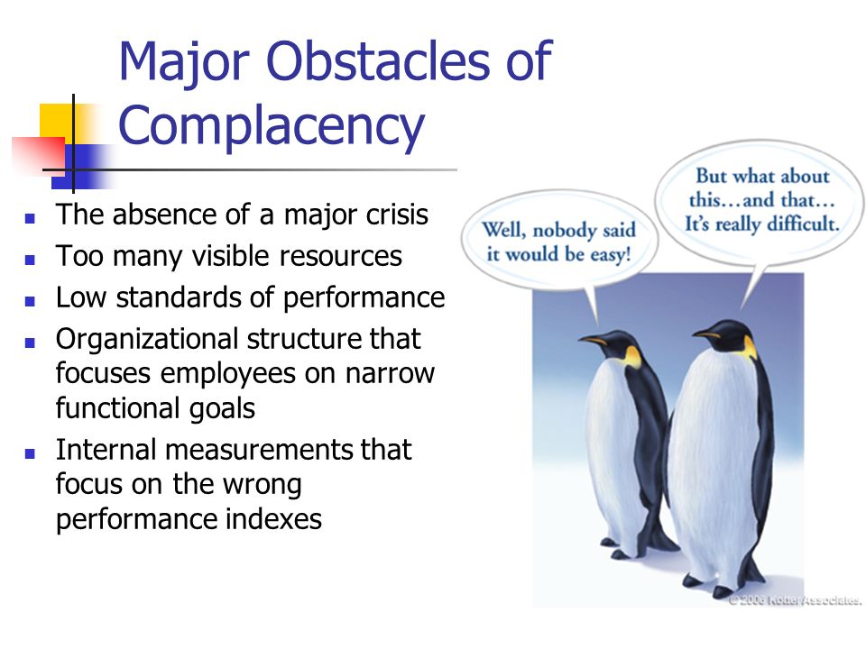 Major Obstacles of Complacency
