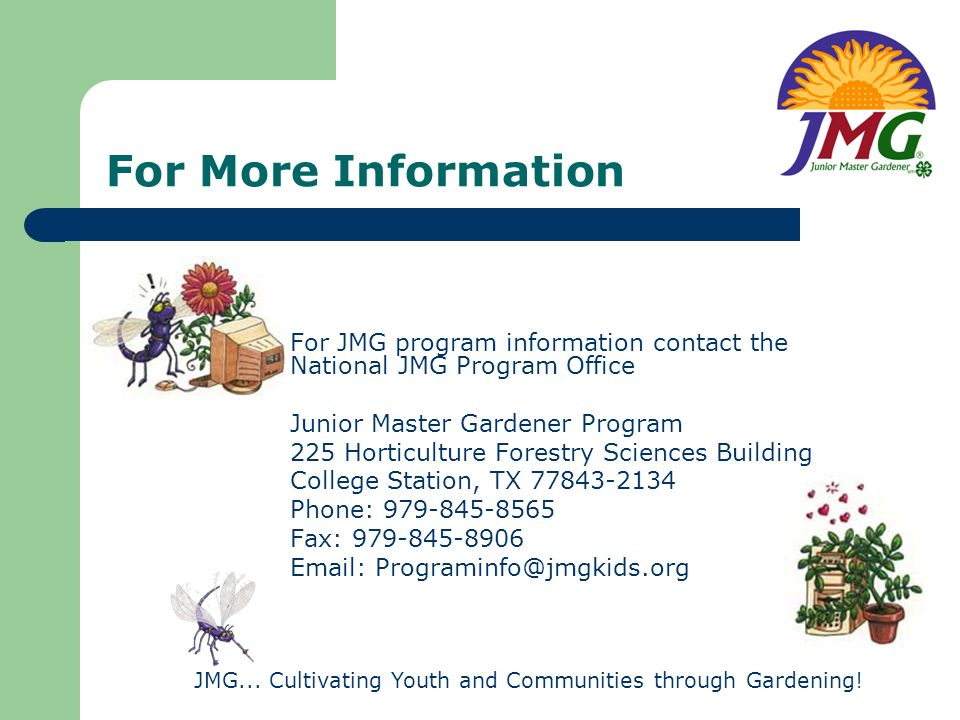 JMG... Cultivating Youth and Communities through Gardening!