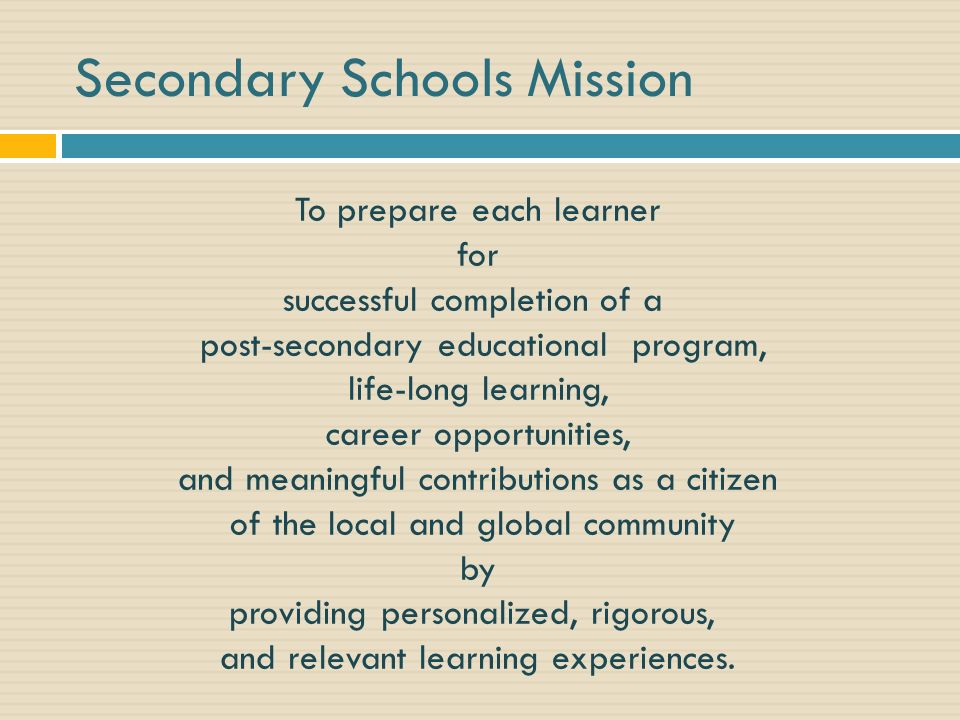 Secondary Schools Mission