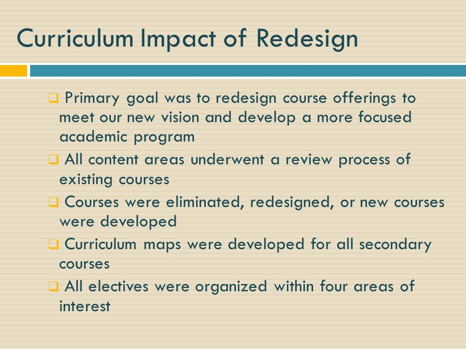 Curriculum Impact of Redesign