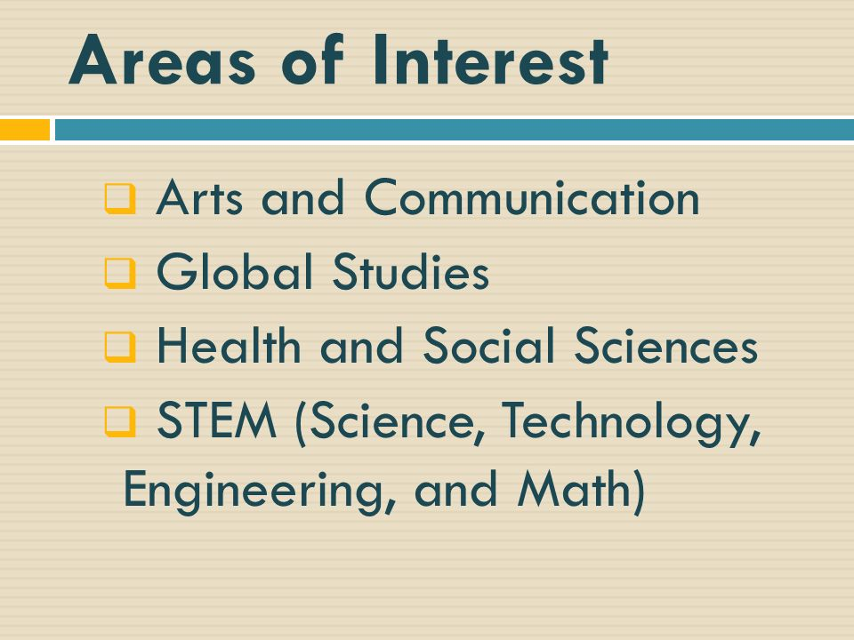 Areas of Interest Arts and Communication Global Studies