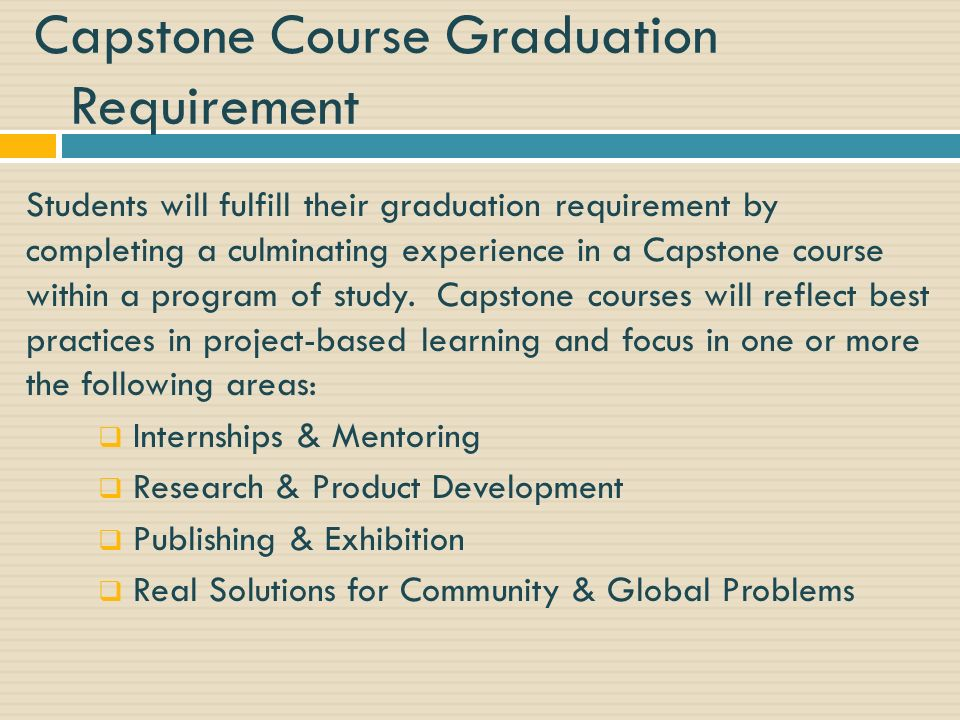 Capstone Course Graduation Requirement