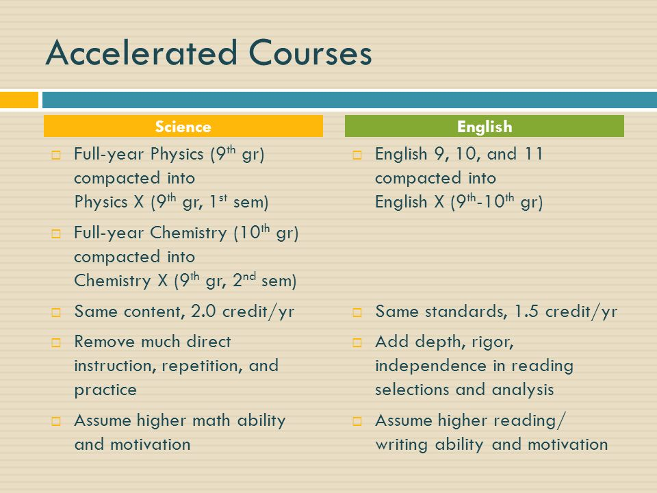 Accelerated Courses Science. English. Full-year Physics (9th gr) compacted into Physics X (9th gr, 1st sem)