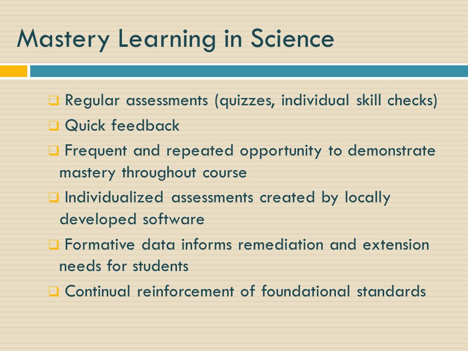Mastery Learning in Science