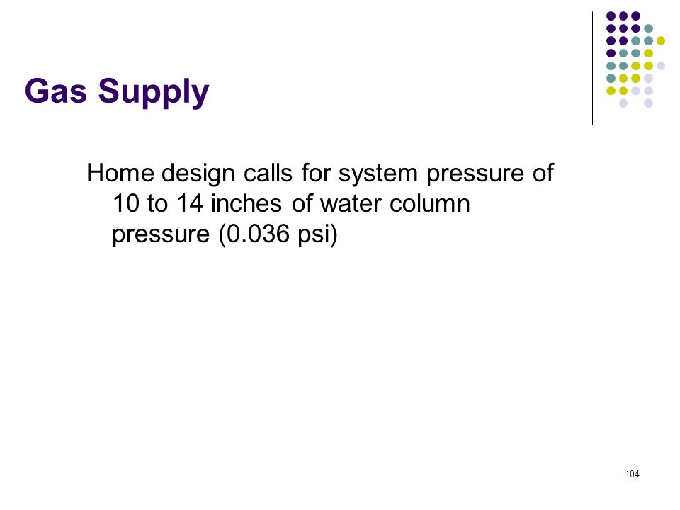 Gas Supply Home design calls for system pressure of 10 to 14 inches of water column pressure (0.036 psi)