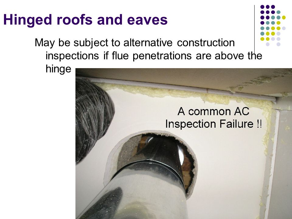 Hinged roofs and eaves May be subject to alternative construction inspections if flue penetrations are above the hinge.