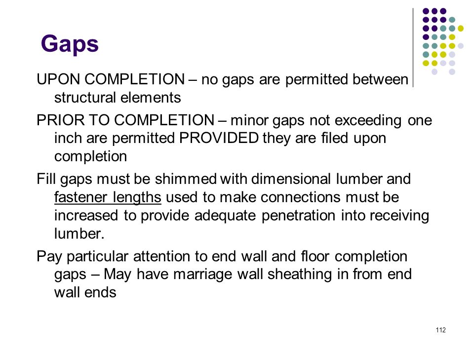 Gaps UPON COMPLETION – no gaps are permitted between structural elements.