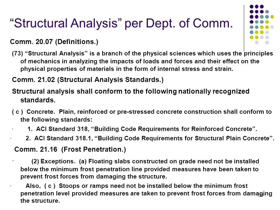 Structural Analysis per Dept. of Comm.