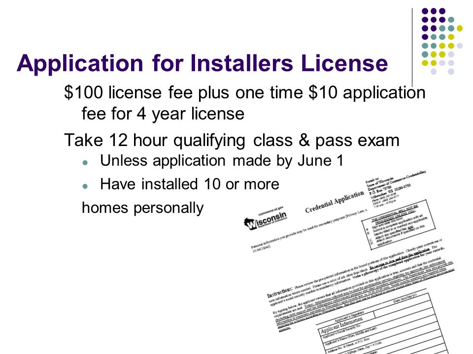 Application for Installers License