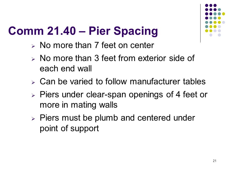 Comm 21.40 – Pier Spacing No more than 7 feet on center