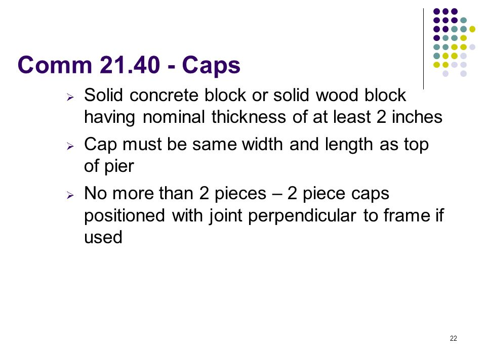Comm Caps Solid concrete block or solid wood block having nominal thickness of at least 2 inches.