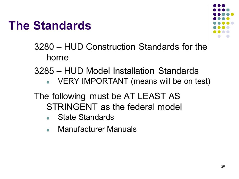 The Standards 3280 – HUD Construction Standards for the home