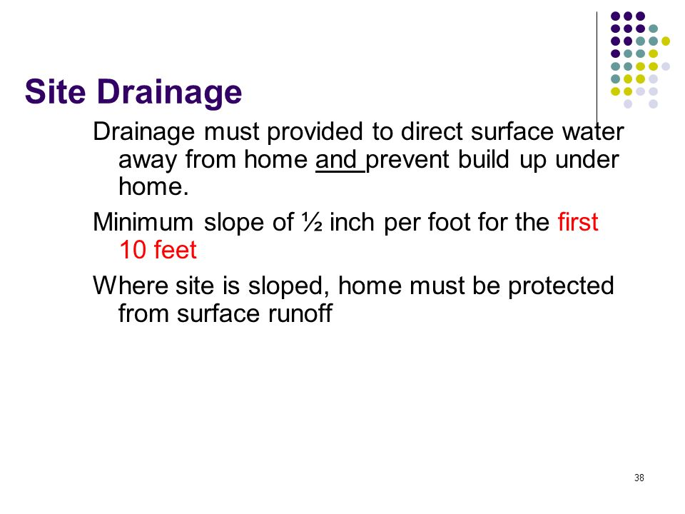 Site Drainage Drainage must provided to direct surface water away from home and prevent build up under home.