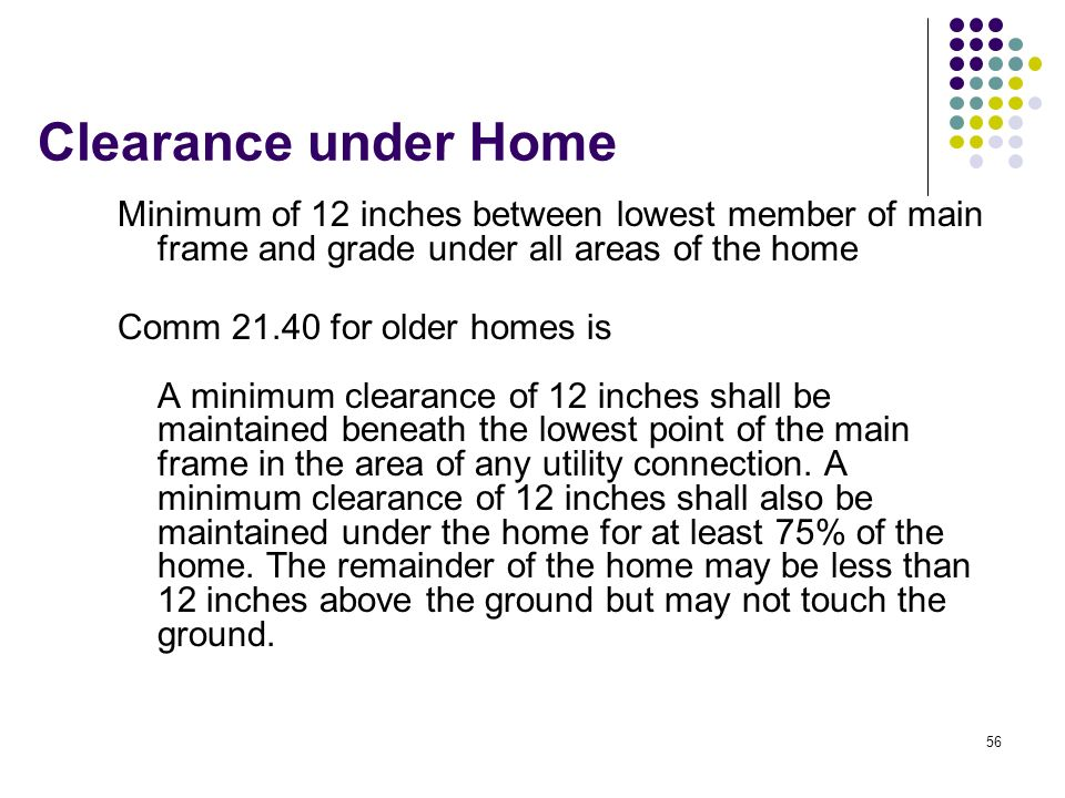 Clearance under Home Minimum of 12 inches between lowest member of main frame and grade under all areas of the home.