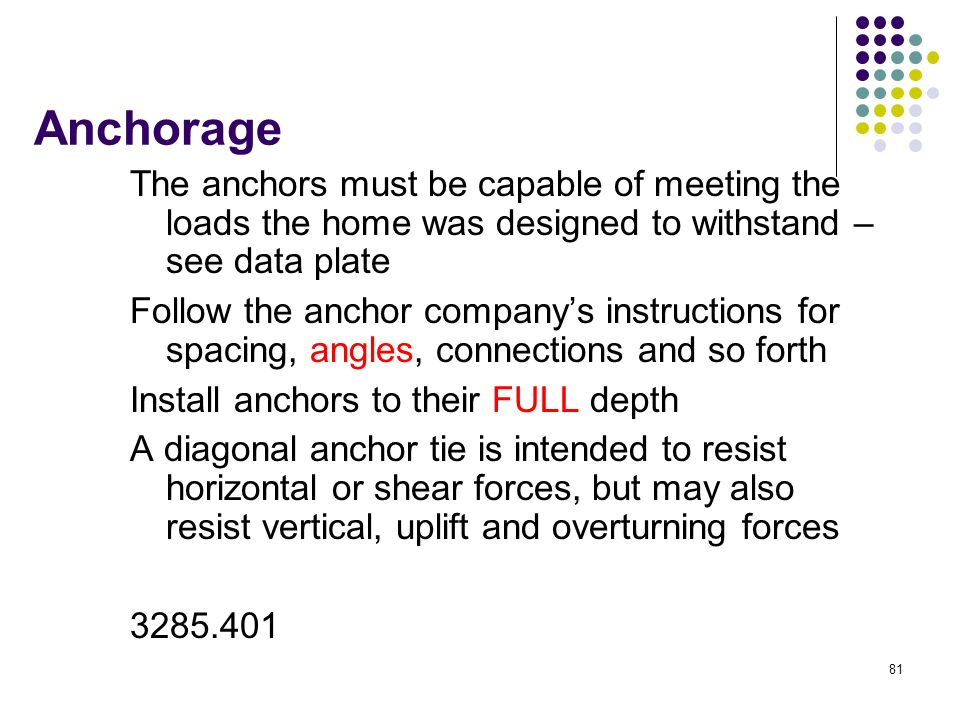 Anchorage The anchors must be capable of meeting the loads the home was designed to withstand – see data plate.
