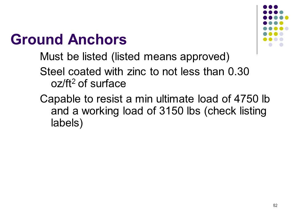 Ground Anchors Must be listed (listed means approved)