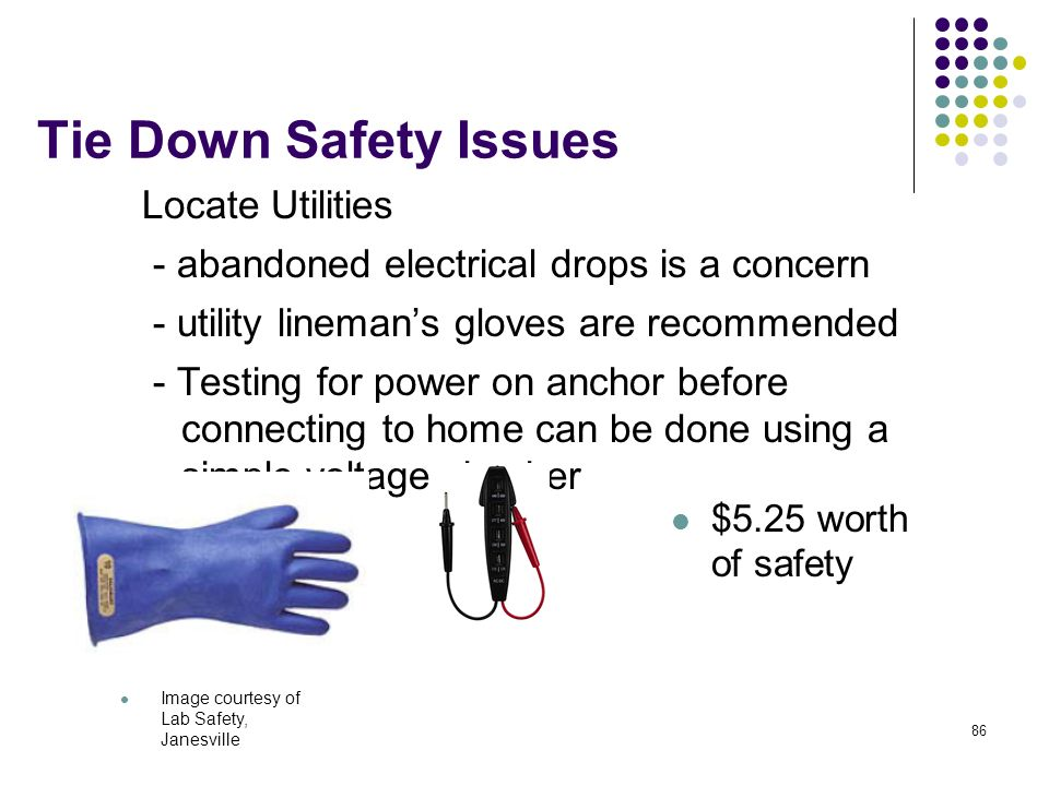 Tie Down Safety Issues Locate Utilities