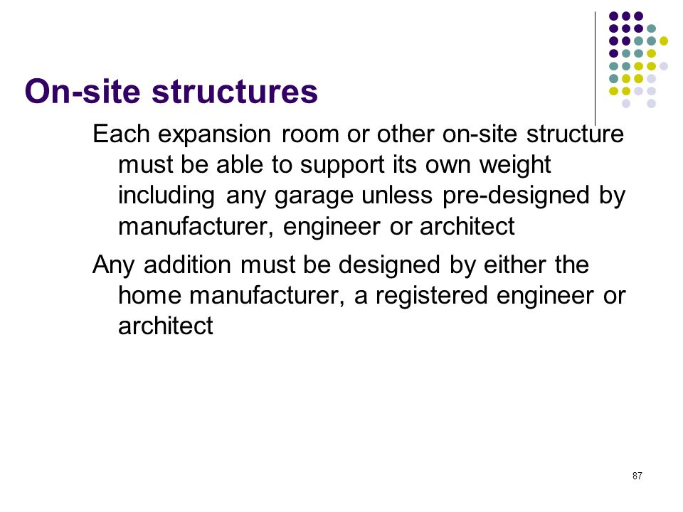 On-site structures