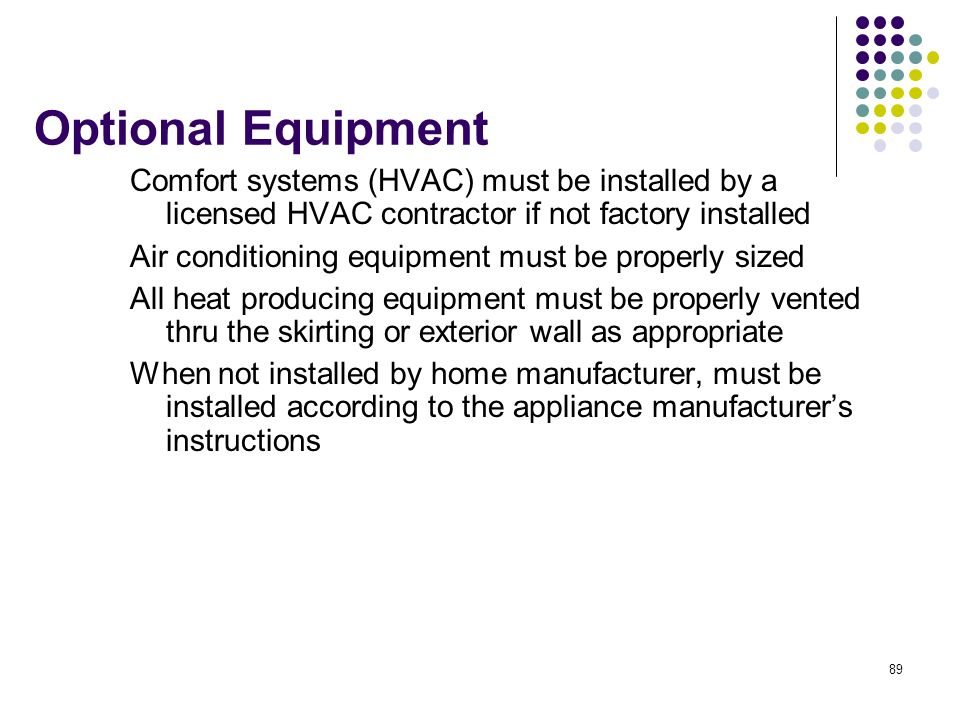 Optional Equipment Comfort systems (HVAC) must be installed by a licensed HVAC contractor if not factory installed.