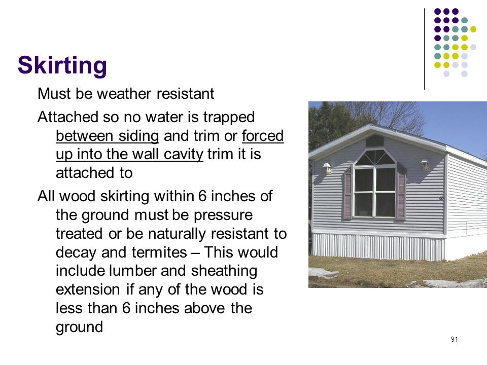 Skirting Must be weather resistant
