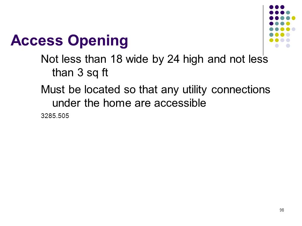 Access Opening Not less than 18 wide by 24 high and not less than 3 sq ft.